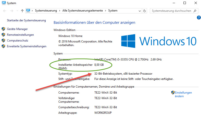 Windows 10 32 Bit RAM Sperre entfernen